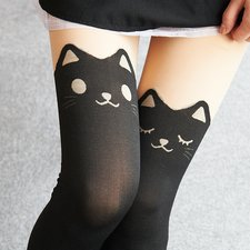 Animal Fake Thigh High Tights (Cat)