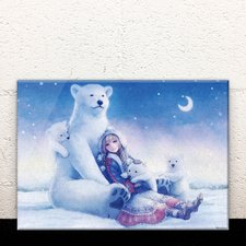 A Polar Bear Family and a Crescent Moon Night Acrylic Art Board