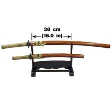 Ogata Sword - Japanese Sword Series KK-2: Horizontal Black Wooden Double Sword Stand