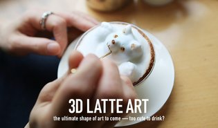 3D LATTE ART the ultimate shape of art to come - too cute to drink?