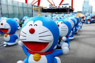 Doraemon and Perman Take Over Tokyo Tower at Fujiko F. Fujio Exhibit!