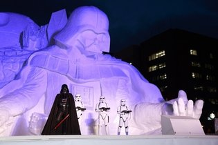 The Largest in History: Gigantic Darth Vader Ice Sculpture Completed at Sapporo Snow Festival