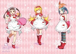 Hello Kitty Cafe × *Monogatari* Series, Three Characters Dress in Special Costumes