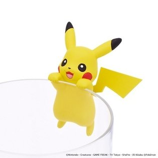 Cute Gatcha Figures of Pikachu that Hang from the Rim of Your Cup