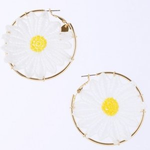 Honey Salon Daisy Hoop Earrings White