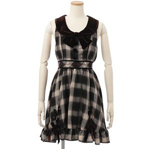 LIZ LISA Hem String Checkered Dress
