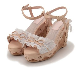 LIZ LISA Frill Lace Wedge Sandals