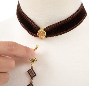 Q-pot. Velvet Ribbon Choker w/ 3-Piece Chocolate Charm Set