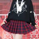LISTEN FLAVOR Check Pleated Skirt