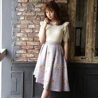 LIZ LISA Rose Pattern Asymmetric Skirt