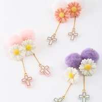 Honey Salon Cross & Daisy Earrings