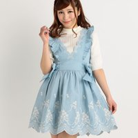 LIZ LISA Embroidered Dungaree Pinafore Dress
