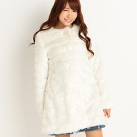 LIZ LISA Jeweled Faux Fur Coat
