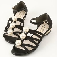 Honey Salon Big Pearl Sandals (Black)