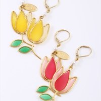 Honey Salon Stained Glass Tulip Earrings