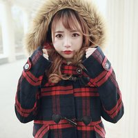 Bobon21 Girly Checkered Duffle Coat