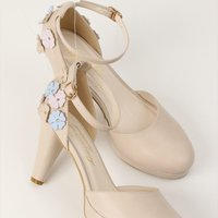 Honey Salon Flower Pumps (Light Beige)