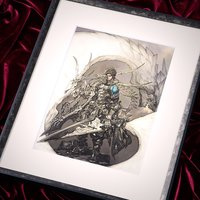 Terra Battle Black Knight Lithograph w/ Frame