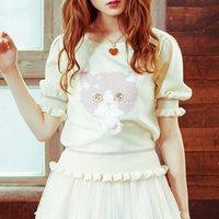 LIZ LISA Cat Intarsia Knit Top