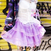 ACDC RAG New 3-Tiered Lace & Tulle Skirt