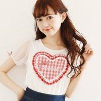 LIZ LISA Heart Gingham Puff Sleeve T-Shirt