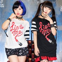LISTEN FLAVOR Liar Rouge Striped Sleeve Cutsew