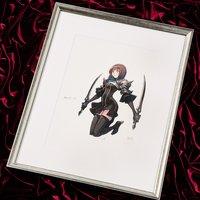 Terra Battle Character Art Amazora Lithograph w/ Frame
