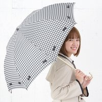 pink trick Gingham Check & Ribbon Umbrella (Rain/UV Protective)