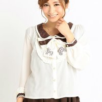 LIZ LISA Horse-Drawn Carriage Embroidered Blouse
