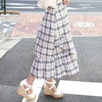 LIZ LISA Checkered Sucre Mi-Mollet Skirt
