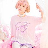 LISTEN FLAVOR Romance Heart Shirred T-Shirt