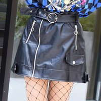 ACDC RAG Faux Leather Zip Skirt