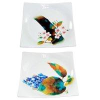 Hana Meguri White Porcelain Square Plates