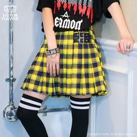 LISTEN FLAVOR Pleated Plaid Skirt w/ Side Belts