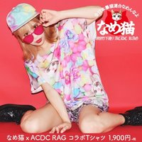 ACDC RAG Name Neko Candy Pattern T-Shirt