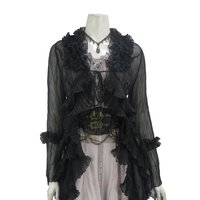 Rozen Kavalier Chiffon Crystal Pleated Long Cardigan