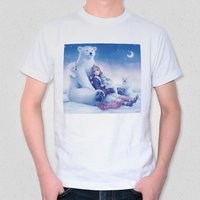 A Polar Bear Family and a Crescent Moon Night T-Shirt