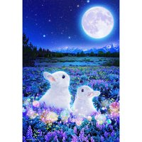 Rabbit Waiting for the Moon Glowing Jigsaw Puzzle
