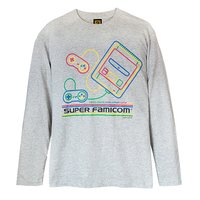 King of Games Super Famicom Gray Long Sleeve T-Shirt Gray w/ Collector's Box & Logo Badge