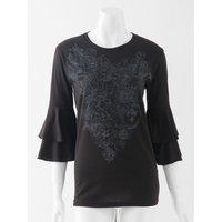 Rozen Kavalier Rose Print Flared Sleeve T-Shirt