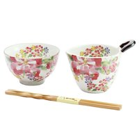 Nobe no Hana Mino Ware Azalea Natto & Rice Bowl Gift Set
