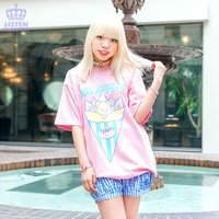 LISTEN FLAVOR Teddy Crepe Big T-Shirt