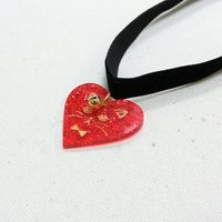 Le cocone Girly Rock Cat Series Red Heart Choker