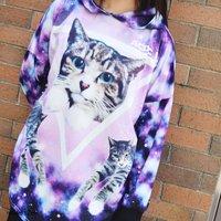 ACDC RAG Galaxy Cat Long Hoodie