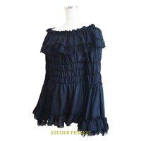 Atelier Pierrot Rose Off-Shoulder Shirred Blouse