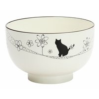 Flowers & Cat Lacquerware Soup Bowl