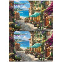 Sicilian Flower Blooming Cafe Jigsaw Puzzle
