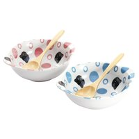 Polka Dots & Cats Mino Ware Bowl & Spoon Set