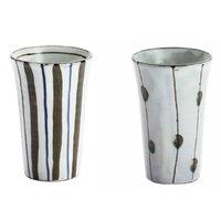 Elegant Mino Ware Kohiki Beer Cups