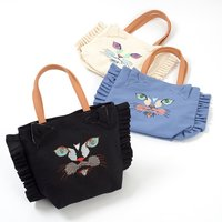 Misfits Colorful Cat Frilly Tote Bag